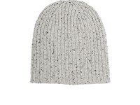 Alex Mill Men's Donegal Effect Chunky Rib Knit Cashmere Beanie Ivory Black Ivory Black
