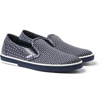 Jimmy Choo Grove Jacquard And Printed Leather Slip On Sneakers Blue