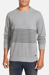 Rvca 'Crucial Sin Stripe' French Terry Crewneck Sweater Grey Noise