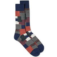 Anonymous Ism Patchwork Crew Sock Blue