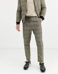 Native Youth Wicker Plaid Co Ord Slim Fit Trousers Brown