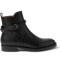 Valentino Studded Leather Jodphur Boots Black