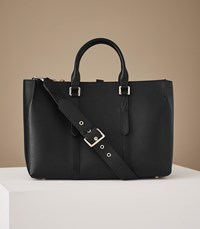 Reiss Picton Leather Tote In Black