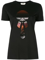 Fendi Sequin Embroidered T Shirt Women Cotton Polyester 38 Black