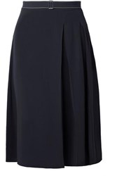 Marni Belted Pleated Crepe Skirt Navy