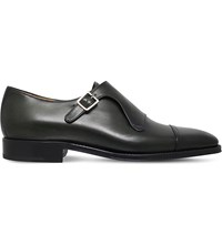 Sutor Mantellassi Uberto Leather Single Monk Shoes Green