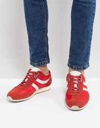 Boss Suede Nylon Mix Trainers In Red