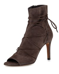 Vince Adisa Lace Up Open Toe Ankle Boot Dark Smoke Women's