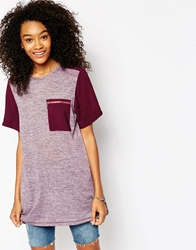 Asos Tunic T Shirt In Oil Wash With Pocket Purple