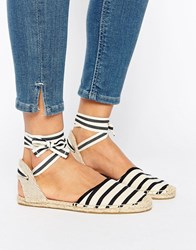 Soludos Classic Stripe Ankle Tie Flat Shoes Classic Stripe Black