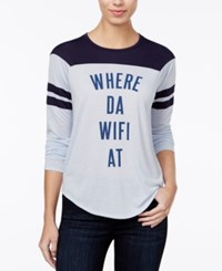 Freeze 24 7 Juniors' Where Da Wifi At Graphic T Shirt Light Blue