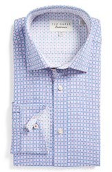 Ted Baker Men's Big And Tall London Trim Fit Check Dress Shirt Purple