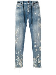 Off White Straight Leg Bleached Jeans Men Cotton Polyester 33 Blue