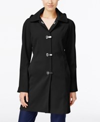 London Fog Petite Hooded Water Resistant Clip Front Raincoat Black