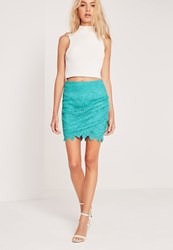 Missguided Lace Mini Skirt Green Green