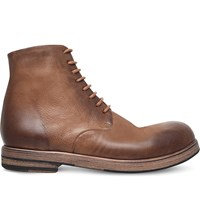 Marsell Military Leather Boots Mid Brown