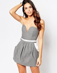Hedonia Colette Plunge Neck Crop Top Grey