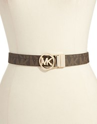Michael Michael Kors Leather Belt With Gold Buckle Chocolate
