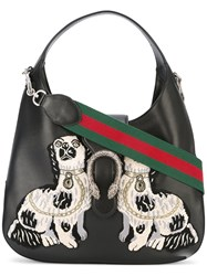 Gucci 'Dionysus' Hobo Bag Women Cotton Calf Leather Metallic Fibre One Size Black