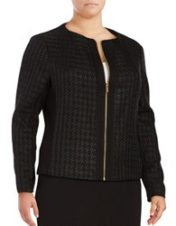 Calvin Klein Plus Exposed Zipper Tweed Jacket Black