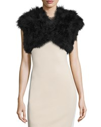 Badgley Mischka Feather Cap Sleeve Shrug Black