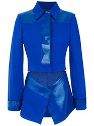 Gloria Coelho Cut Out Polo Blazer Blue