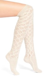 Women's Lemon 'Frosted' Crochet Over The Knee Socks Beige Pebble