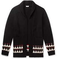 Saint Laurent Sequin Embellished Intarsia Wool Cardigan Black