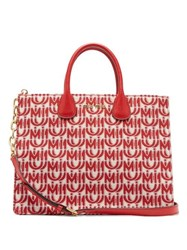 Miu Miu Logo Jacquard Leather Handle Tote Bag Red White