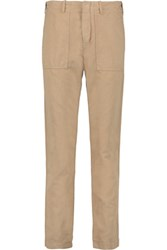 Maje Cotton And Linen Blend Tapered Pants Beige