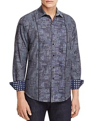 Robert Graham Limited Edition Embroidered Classic Fit Button Down Shirt Charcoal