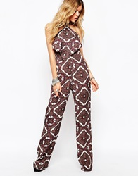 Missguided Boho Aztec Print Wide Leg Jumpsuit Burgandy