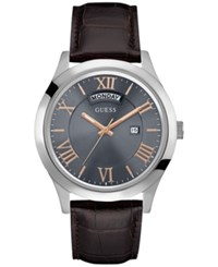 Guess Men's Metropolitan Brown Leather Strap Watch 44Mm U0792g7