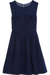 Halston Heritage Chiffon Paneled Cotton Blend Mini Dress Midnight Blue