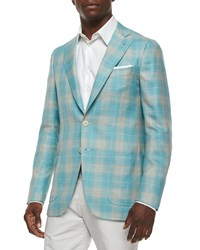 Isaia Plaid Cashmere Blend Sport Coat Seafoam Tan