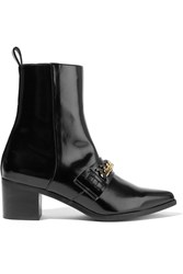 Stella Mccartney Chain Embellished Faux Patent Leather Ankle Boots Black
