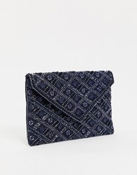 Accessorize Tabitha Embellished Clutch In Navy Multi