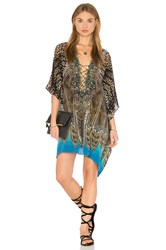 Camilla Short Lace Up Kaftan Brown