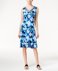 Jm Collection Sleeveless A Line Dress Geometric Print Turquoise