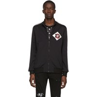 Dolce And Gabbana Black Dg Patch Zip Up Sweater