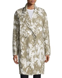 Jason Wu Double Breasted Printed Long Coat Army Multi