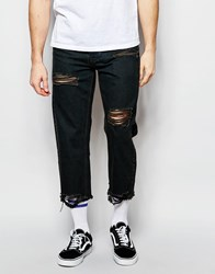Asos Straight Jeans In Cropped Length With Raw Edge And Rips Washed Black