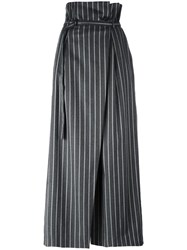 Enfold Belted Loose Fit Striped Trousers Grey