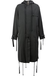 Song For The Mute Hooded Coat Cotton Carbon Cupro Black