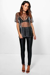 Boohoo Matte Leather Look Highwaist Leggings Black