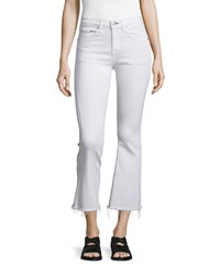 Rag And Bone Rag And Bone Jean Mid Rise Cropped Flare Leg Jeans Bright White Size 29