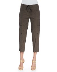 Eileen Fisher Drawstring Cropped Cargo Pants Rye