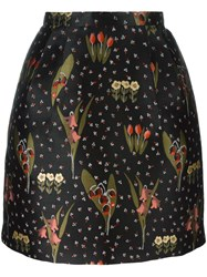 Red Valentino Floral Pattern A Line Skirt Black