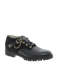 New Kid Remy Osol Strap Flat Lace Up Shoes Black