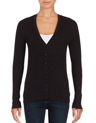 Lord And Taylor Ribbed V Neck Cardigan